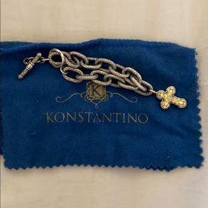 Konstantino two-tone bracelet with cross charm.